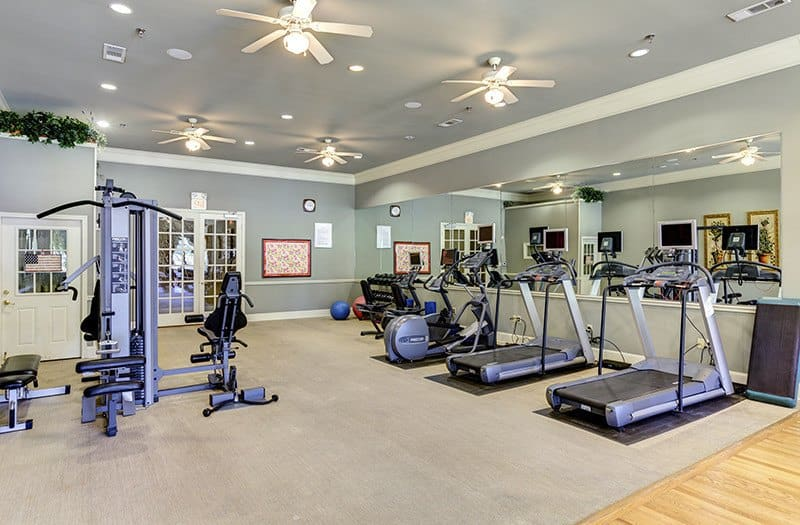 Exercise with friends and neighbors in our Fitness Center at Conservatory At Keller Town Center; there's plenty of room and equipment to choose from!