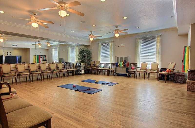 Come do some low-impact yoga in our Multi-Purpose Room at Conservatory at North Austin in Austin, TX.