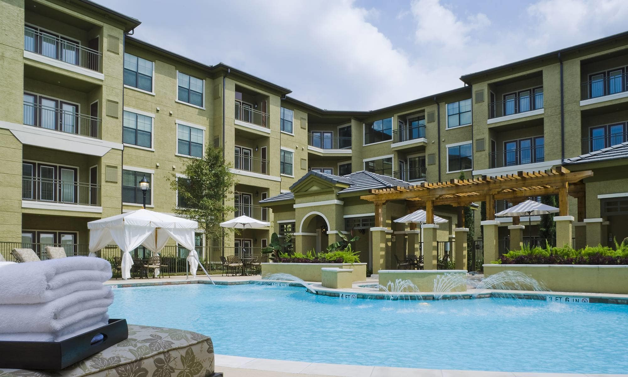 Exterior View From The Pool Area Of Our Wonderful Senior Living Community  In Spring.