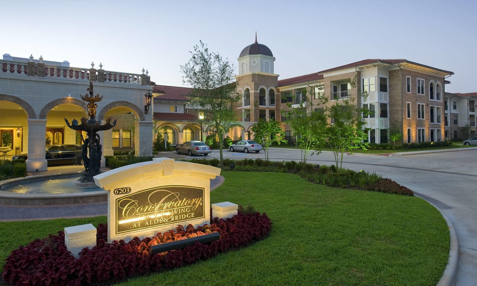 Charming Exterior View Of The Entrance To Our Wonderful Senior Living Community In  The Woodlands.