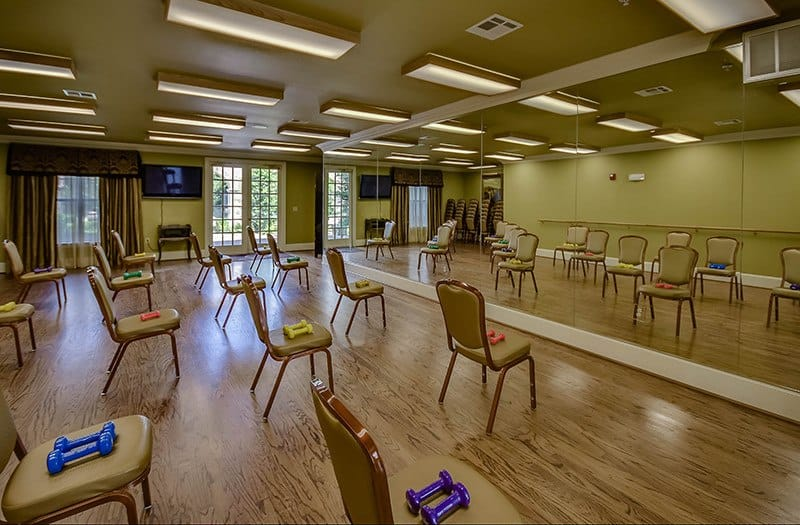 The Great Room at Conservatory At Alden Bridge is the perfect place for some light exercise.