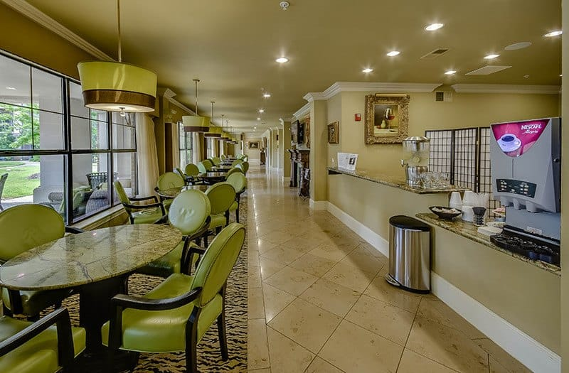 Grab a snack in our Safari Lounge at our senior living community in The Woodlands, TX.