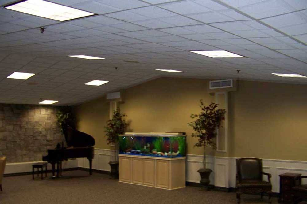 Fish tank and piano at PARCway Post Acute Recovery Center