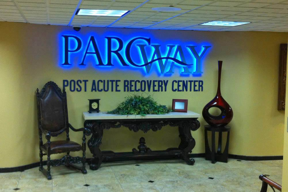 PARCway Post Acute Recovery Center sign in lobby