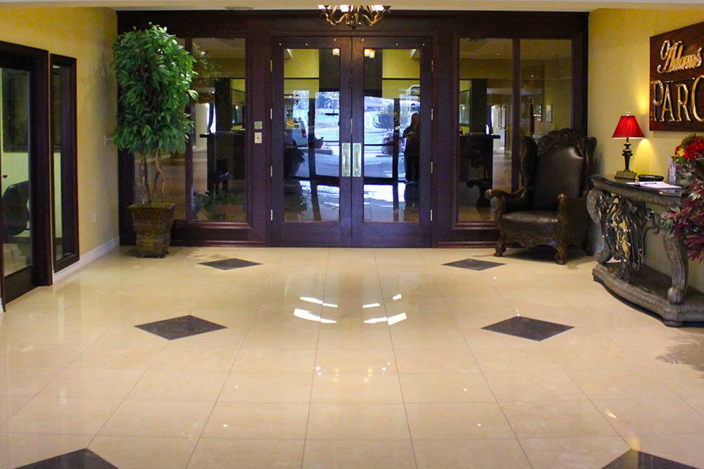 Tiled floor at the main entry lobby of Adams PARC Post Acute Recovery Center in Bartlesville