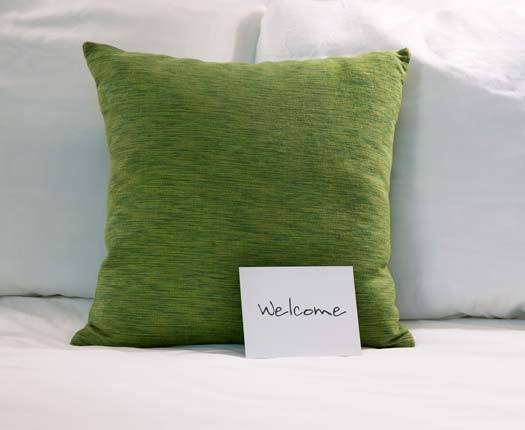 A decorative green pillow adds a pop of color to Cottagewood Senior Communities furniture