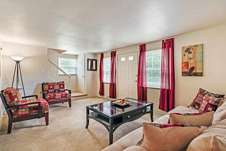 Bright inviting living room at Governors Ridge in Pittsburgh, Pennsylvania