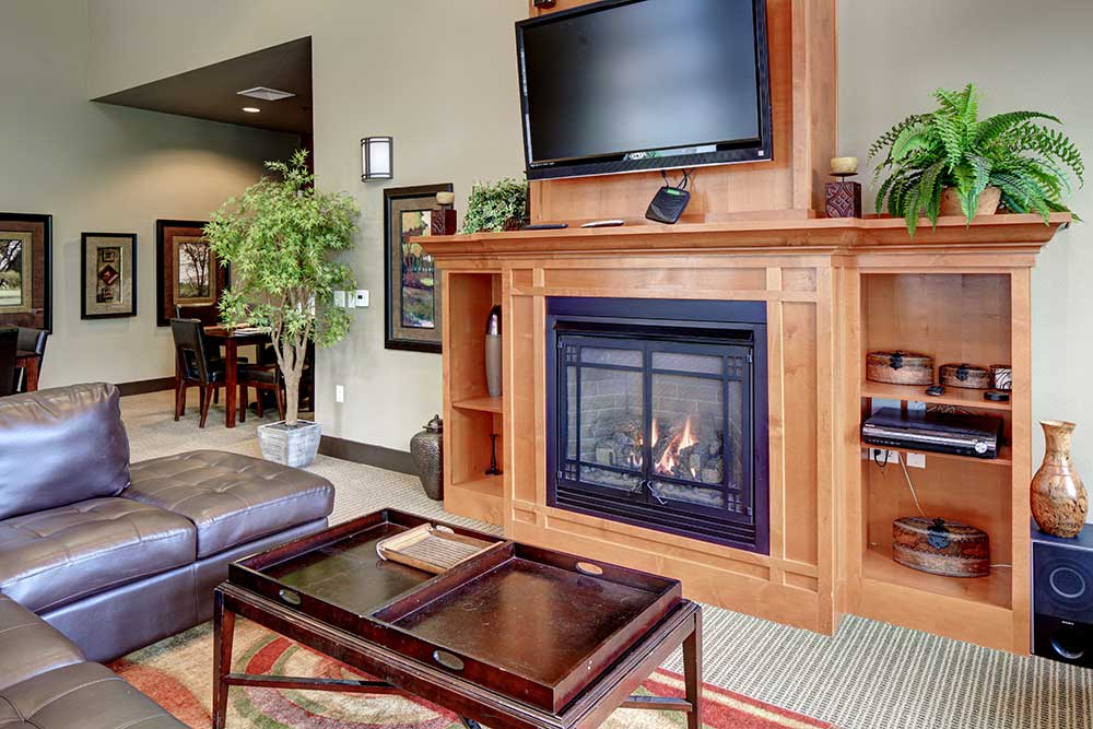 Echo Lake Apartments clubhouse fireplace