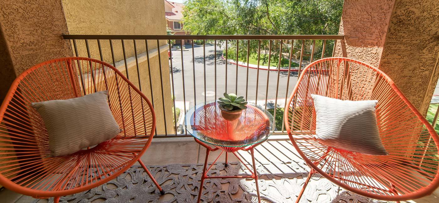 Patio area at The Catherine Townhomes at Scottsdale