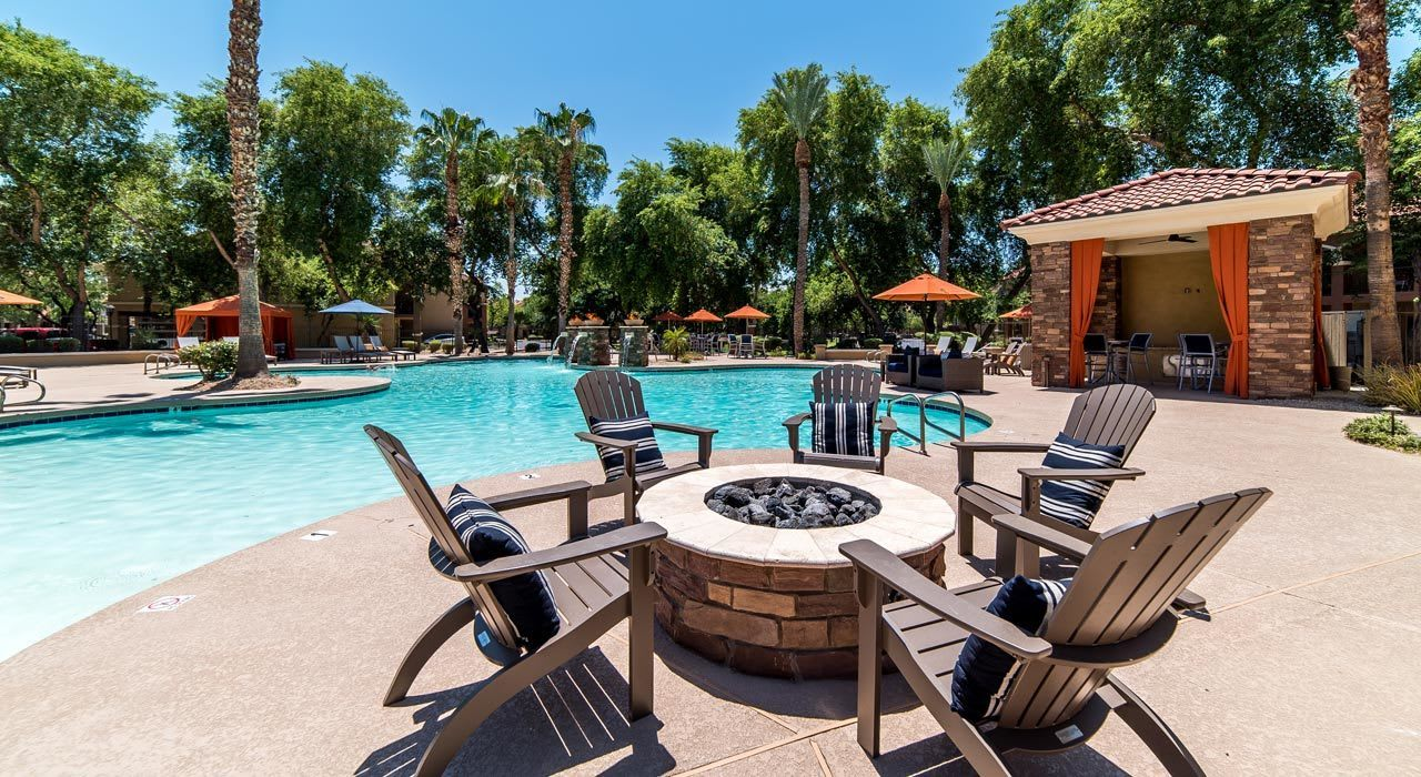 Pool Area with Fire Pit at The Catherine Townhomes at Scottsdale