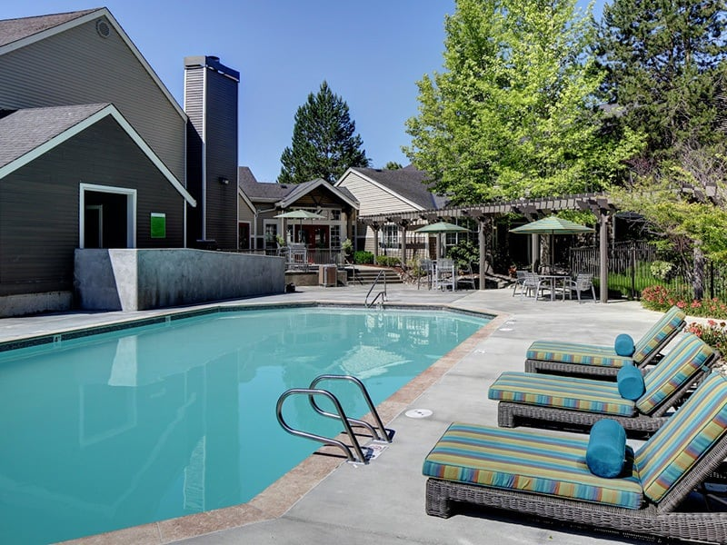 Swimming pool at apartments in Mukilteo, Washington