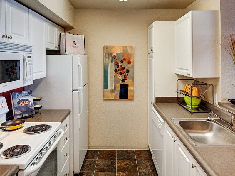 New appliances in the kitchens of apartments in Mukilteo, Washington