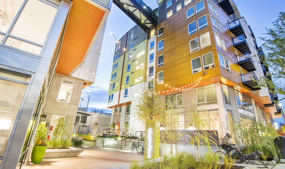 Exterior view of our luxury apartments in Bridges@11th in Seattle