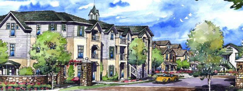 Friendly neighborhood at luxury apartments in Napa, CA.