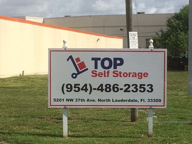 Monument sign at Top Self Storage - North Lauderdale
