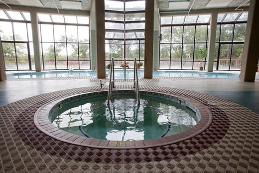 A swanking hot tub at Woodland Heights