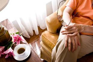 Woman relaxing with coffee at St. Petersburg respite care