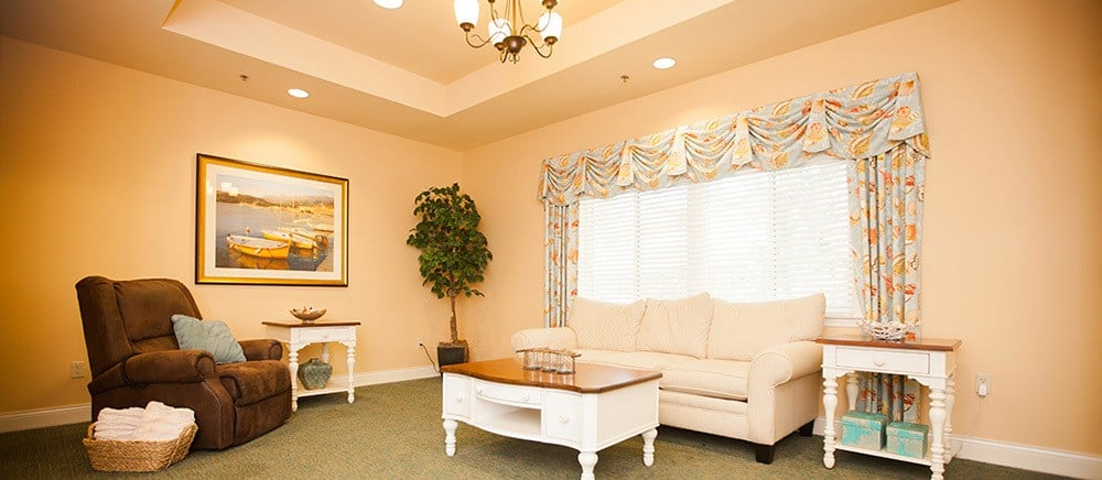 Comfortable living room at senior living in Fort Pierce.