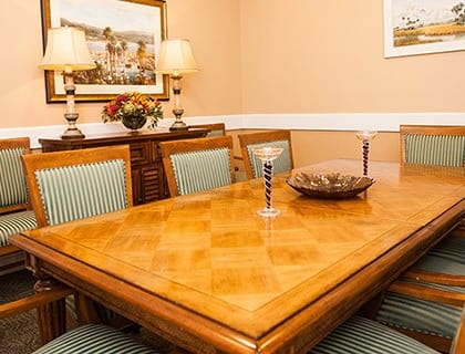 Dining table at the senior living in Fort Pierce