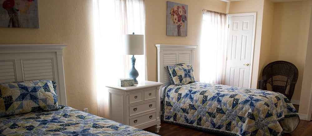 Cozy bedrooms at The Villas at Sunset Bay in New Port Richey, Florida.
