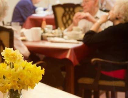 Elegant dining room in Fayetteville senior living.