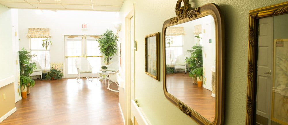 Sunny corridor at Fayetteville senior living.