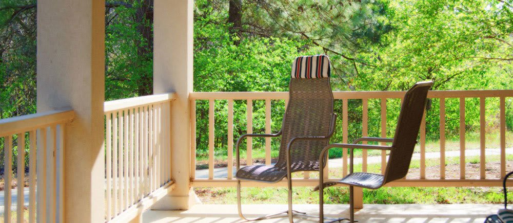Senior living in Fayetteville includes outdoor seating.