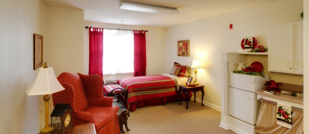 Spacious bedroom in Fayetteville senior living.