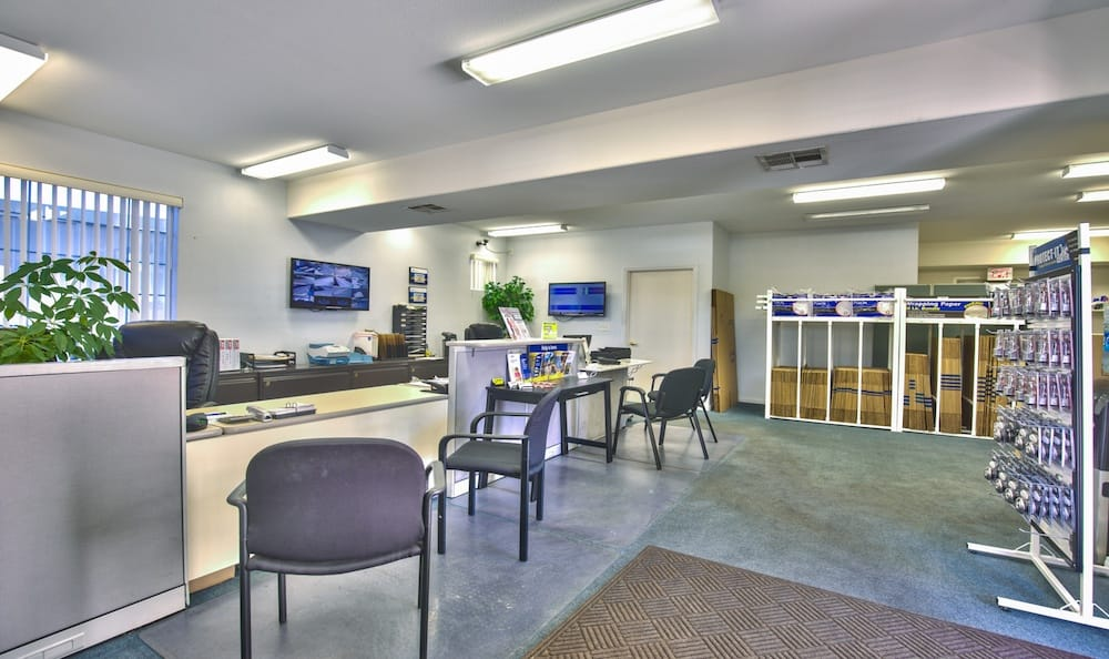 Welcoming office and service counter at Best Storage in Henderson