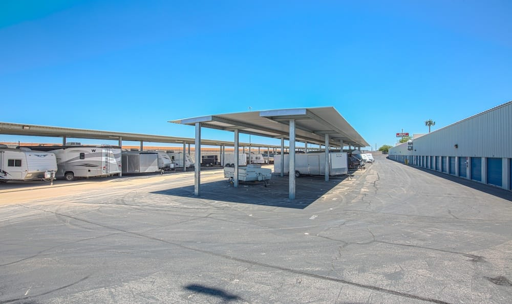 Covered RV and Travel Trailer storage at Best Storage in Henderson