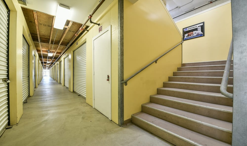 staircase and indoor units at our storage facility at Carriage Square in Oxnard