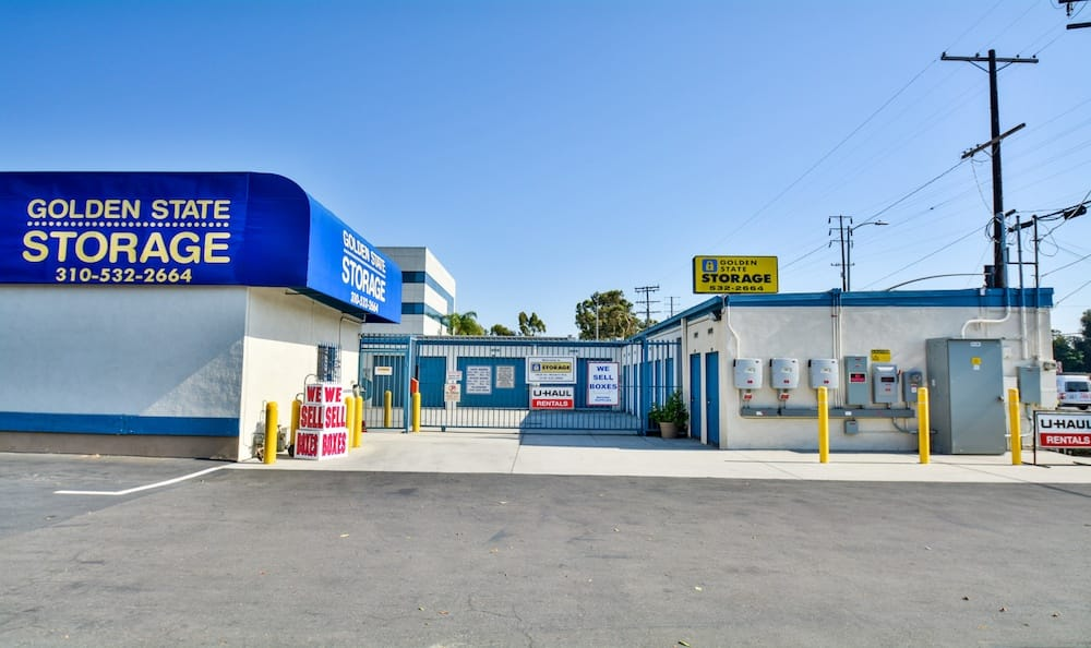 Entrance gate and security features of our storage facility in Gardena