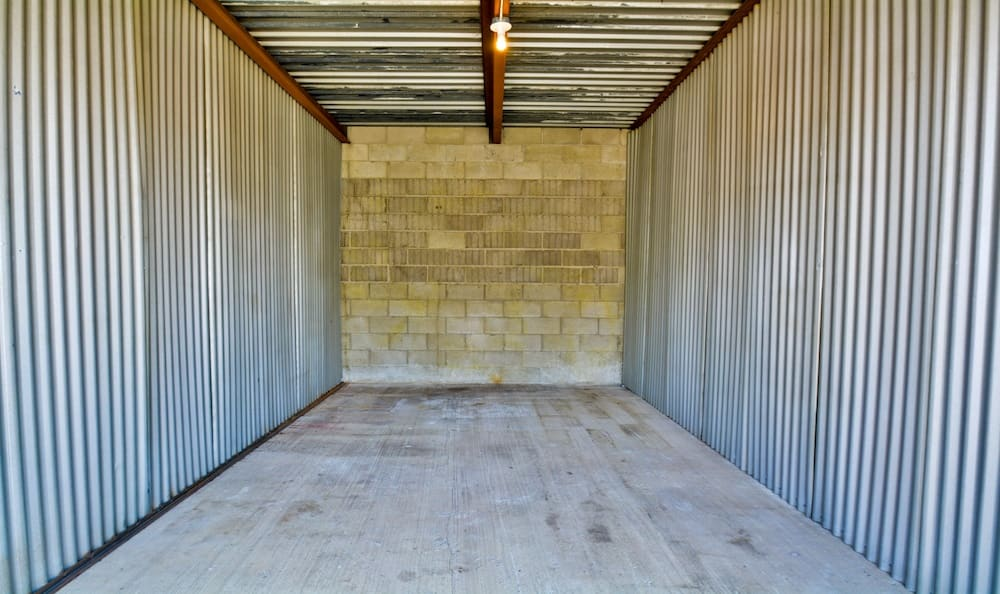 Inside of a large storage unit at our storage facility in Santa Fe Springs