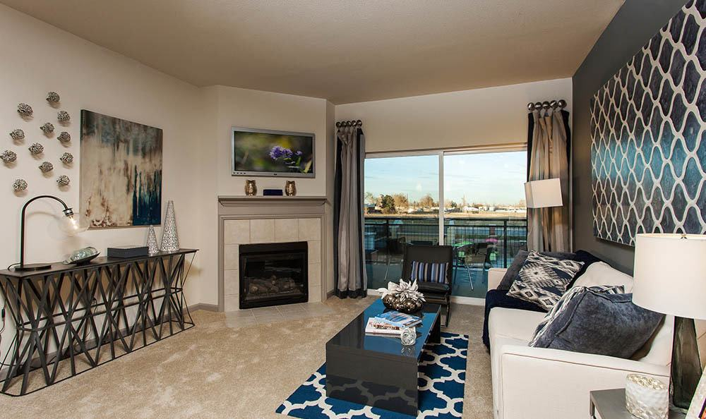 Two Bedroom living room At Harvest Station Apartments In Broomfield CO