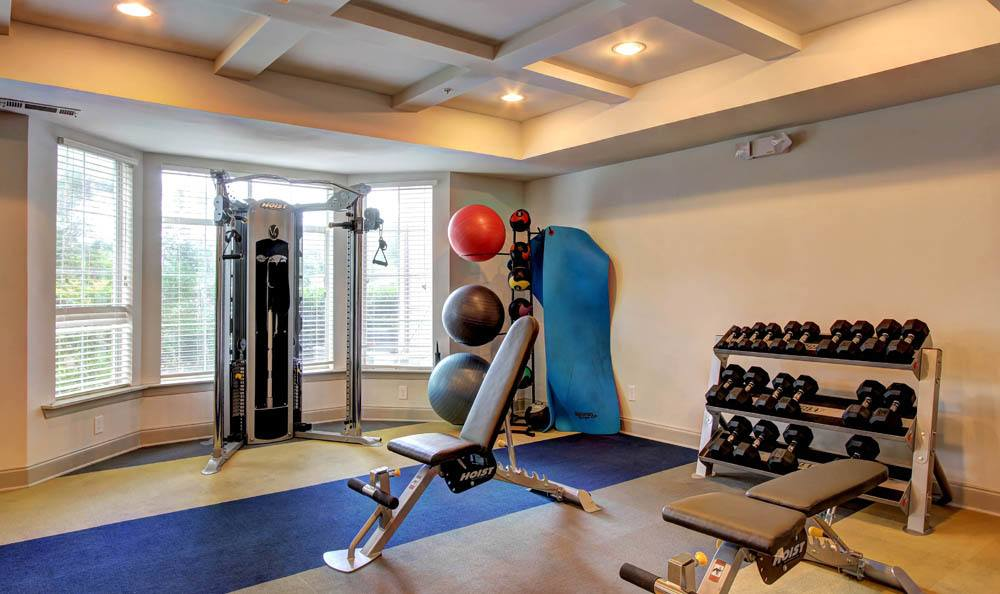 Fitness center at Meridian Apartments in San Antonio