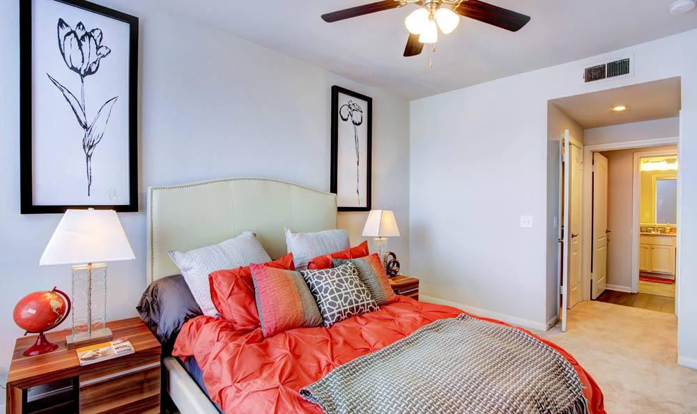 Bedroom At Meridian Apartments In San Antonio TX