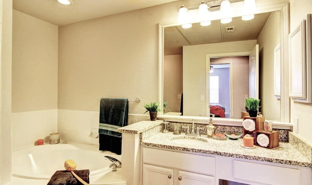 Bathroom At Meridian Apartments In San Antonio TX