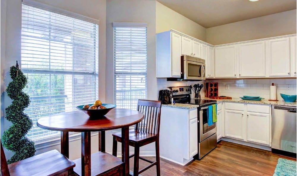 Apartment Kitchen At Meridian Apartments In San Antonio TX