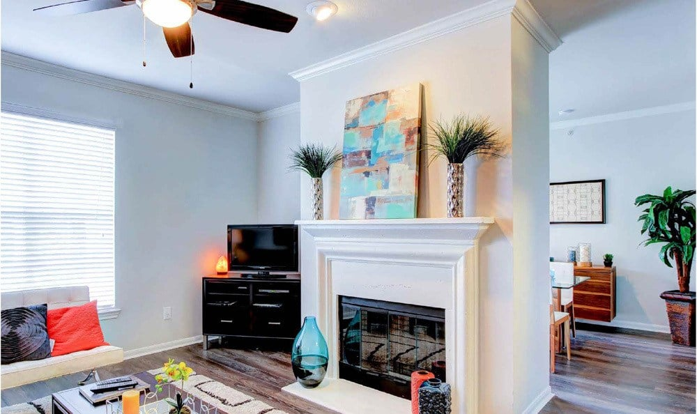 Living Room At Meridian Apartments In San Antonio TX