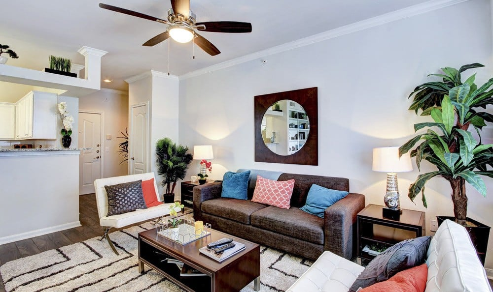 Spacious Living Room At Meridian Apartments In San Antonio TX