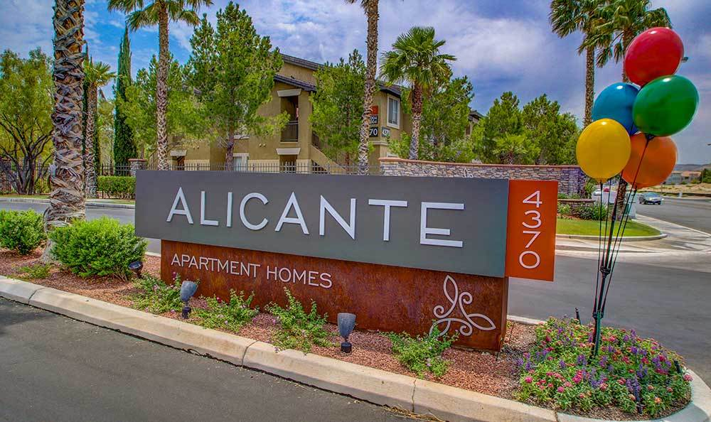 Welcome sign at Alicante Apartments in Las Vegas, Nevada