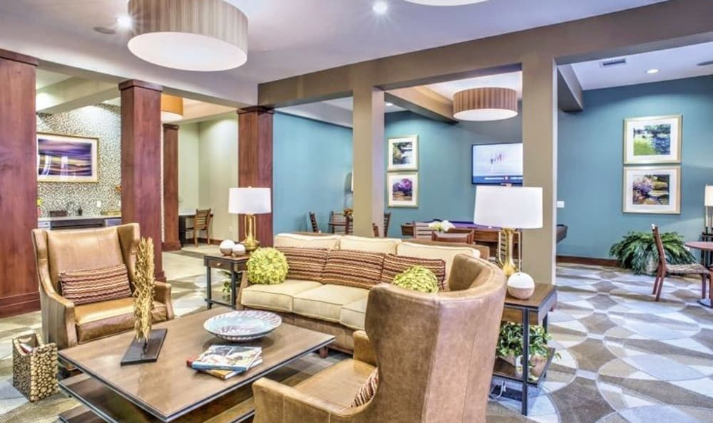 The beautifully decorated clubhouse at 4000 Hulen Urban Apartment Homes