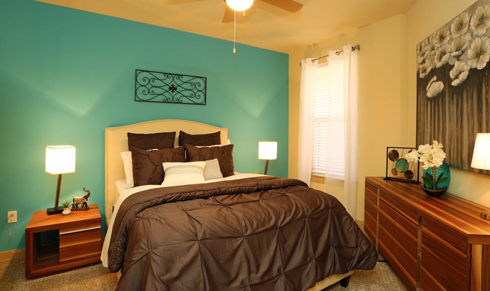 View of spacious bedroom from another angle at 4000 Hulen Urban Apartment Homes in Fort Worth