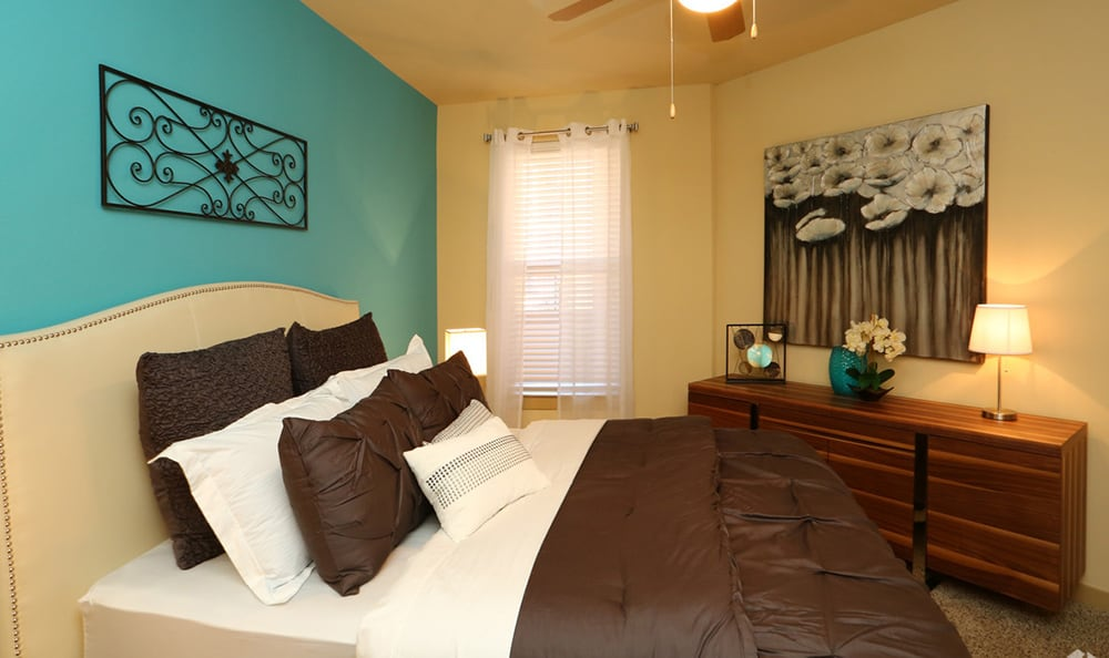 Well-decorated bedroom at 4000 Hulen Urban Apartment Homes
