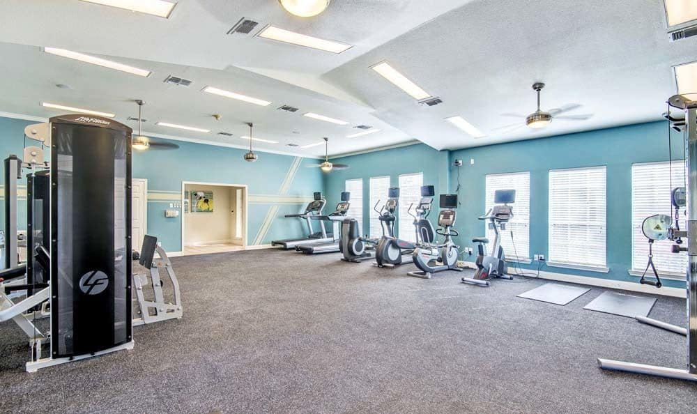 Beautiful fitness center at Signature Point Apartments in League City, Texas