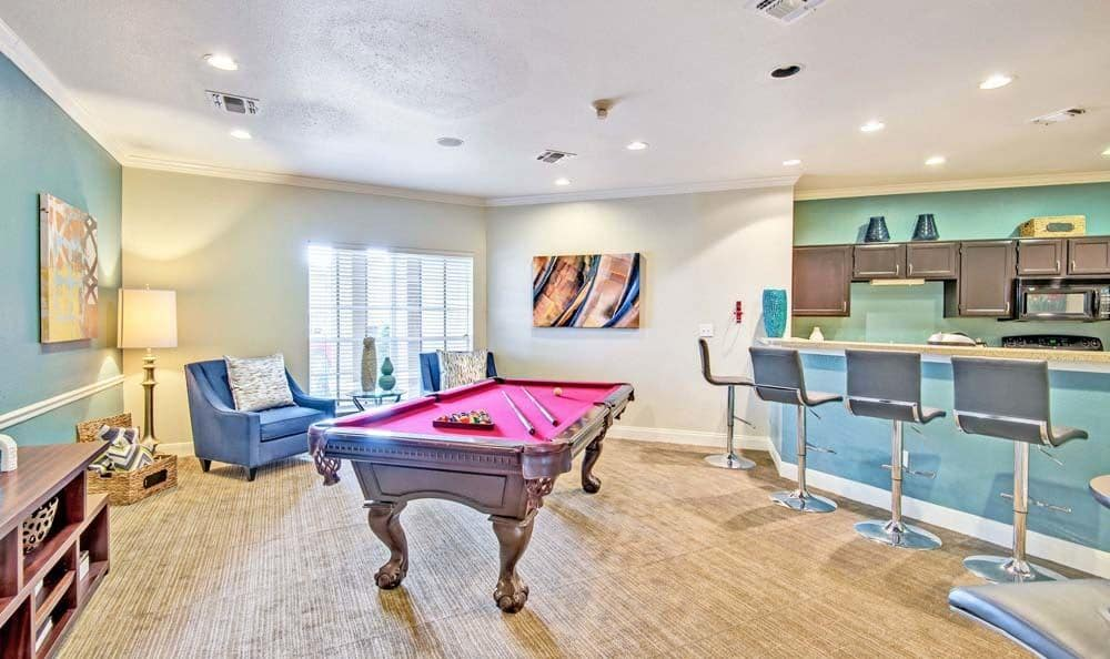 Signature Point Apartments offers a great for entertaining pool table in League City, Texas