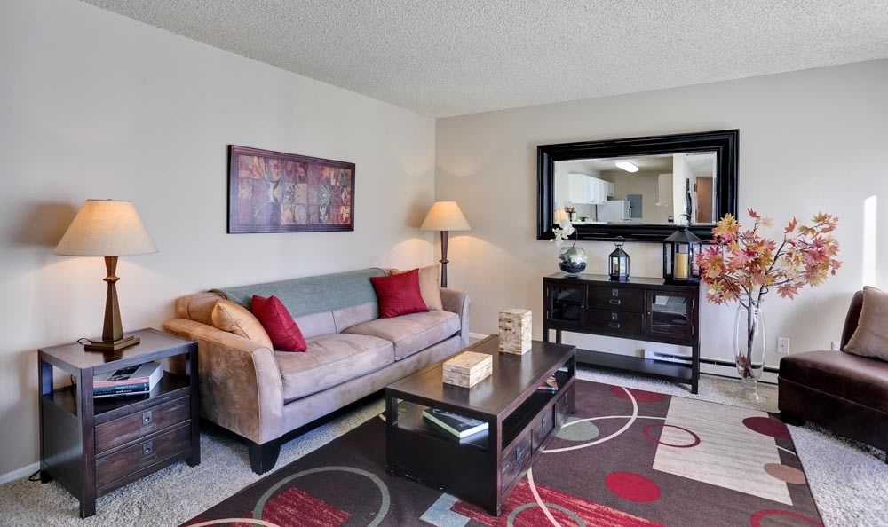 Luxury living room at apartments in Colorado Springs, Colorado