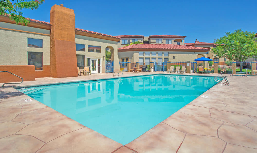 Luxury swimming pool at Ventana Canyon Apartments in Albuquerque, New Mexico
