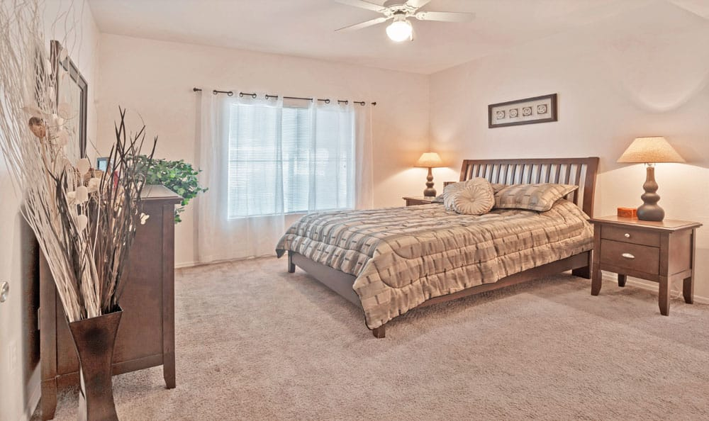 Beautiful bedroom at Ventana Canyon Apartments in Albuquerque, New Mexico