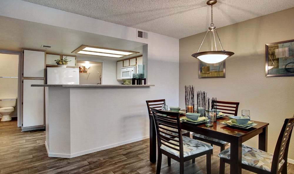 Beautiful kitchen and dining room at apartments in Las Vegas, Nevada